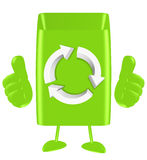 3d recycling thumbs up. Happy green Stock Images