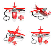 3d red airplane and stethoscope array Stock Images