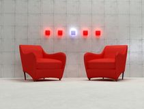 3d red armchair. With concrete wall and neon lamp -3d rendering Royalty Free Stock Photos