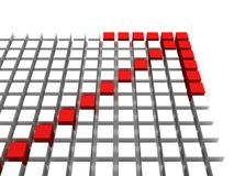 3d red arrow on cube surface on white background. 3d Stock Image