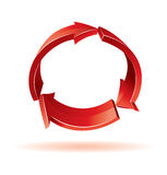 3d red arrows. 3d colorful arrows. Recycle sign Royalty Free Stock Photo