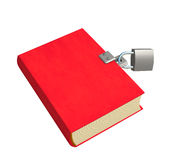 3d red book, closed on the lock Stock Photography