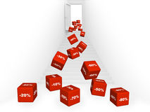 3d red boxes with the goods at a discount vector illustration