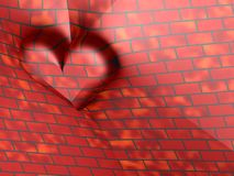 3D red brick heart. 3D image of a red brick love heart in the wall Royalty Free Stock Photo