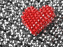 3D red brick love heart Stock Images