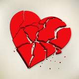 3d red broken heart on paper background. 3d broken heart pieces on paper Royalty Free Stock Photography