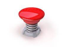 3d red button. 3d image of red button with spring. White background Royalty Free Stock Photo