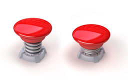 3d red button. 3d image of red button with spring. White background Stock Images