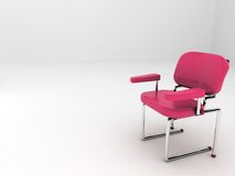 (3d) Red chair in white room. A red modern chair alone in a white room. Room for text in the left side. Uses: We have a chair reserved for you, Sit down and Royalty Free Stock Photo