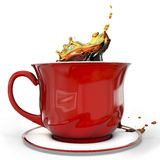 3d red coffee cup with splash. On white background Royalty Free Stock Image