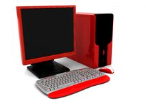 3d red computer Stock Photography