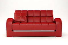 3d red couch on white Stock Photography