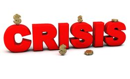 3d red crisis word. With money on white background Stock Photo