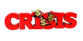 3d red crisis word. Red crisis word destroyed by money Royalty Free Stock Image