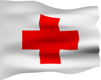 3D Red Cross Flag Royalty Free Stock Photos