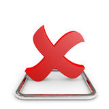 3D red cross mark in chrome checkbox. Royalty Free Stock Images