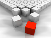 3D Red Cube. Many white cubes and one red, abstract rendering Royalty Free Stock Photo