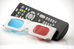 3D red and cyan glasses. On a white background stock photo