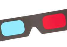 3D red and cyan glasses. On a white background stock photography