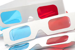3D red and cyan glasses. On a white background stock photos