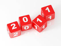 3d red dice 2011. New year day background Stock Image