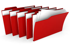 3d red dossier on white background. Black red on white background Stock Photography