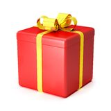 3D red gift box with yellow ribbons over white bac Stock Photo