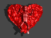 3D red glass baby in heart. 3D image of a newborn baby surrounded by glass red rose petals in the form of heart Royalty Free Stock Images