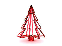 3D red glass Christmas tree. Rendered red glass Christmas tree. Isolated on a white background Stock Photo