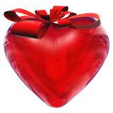 3D red glass heart as a gift Royalty Free Stock Image