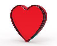 3D.Red glass heart Isolated on white Royalty Free Stock Photo
