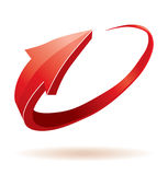 3D red glossy arrow royalty free stock image