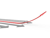 3d red gray arrow high Stock Photo