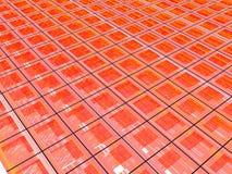 3D Red Grid. 3D illustration of a grid made of blue squares Royalty Free Illustration