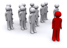 3D red Guy in front Royalty Free Stock Images