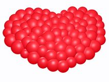 3D-Red heart (w). 3D - Red bubble heart on white Royalty Free Stock Photo