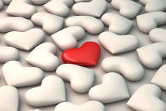 3d red heart on white hearts background Royalty Free Stock Image