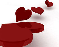 3d red hearts Royalty Free Stock Photo