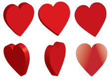 3d red hearts shapes. Isolated on white -  illustration Royalty Free Stock Photo