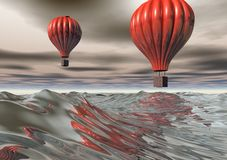 3D Red Hot Air Balloons Royalty Free Stock Image