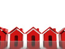 3d red house icon, symbol in row. 3d icon red house symbol in row Royalty Free Stock Photography