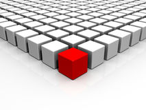 3D Red Individuality Cube Stock Photos