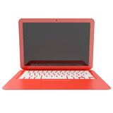 3D red laptop isolated on white Royalty Free Stock Photos