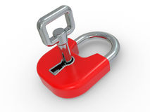 3d red lock with key Stock Photo