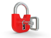 3d red lock with key Royalty Free Stock Image