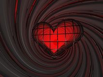 3D red love heart in spiral Royalty Free Stock Images