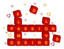 3D red love scrabble Stock Photo