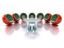3d red modern chairs with table Royalty Free Stock Photography