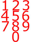 3D Red Numbers Stock Photo