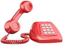 3D red old fashioned style telephone. Rendered at high resolution on a white background with diffuse shadows Royalty Free Stock Photography